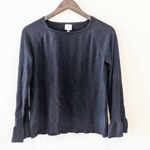 Cupio Black Sweater with Flowy Sleeves Large
